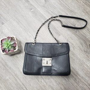 Vintage Genuine Black Leather Pegabo Crossbody Bag